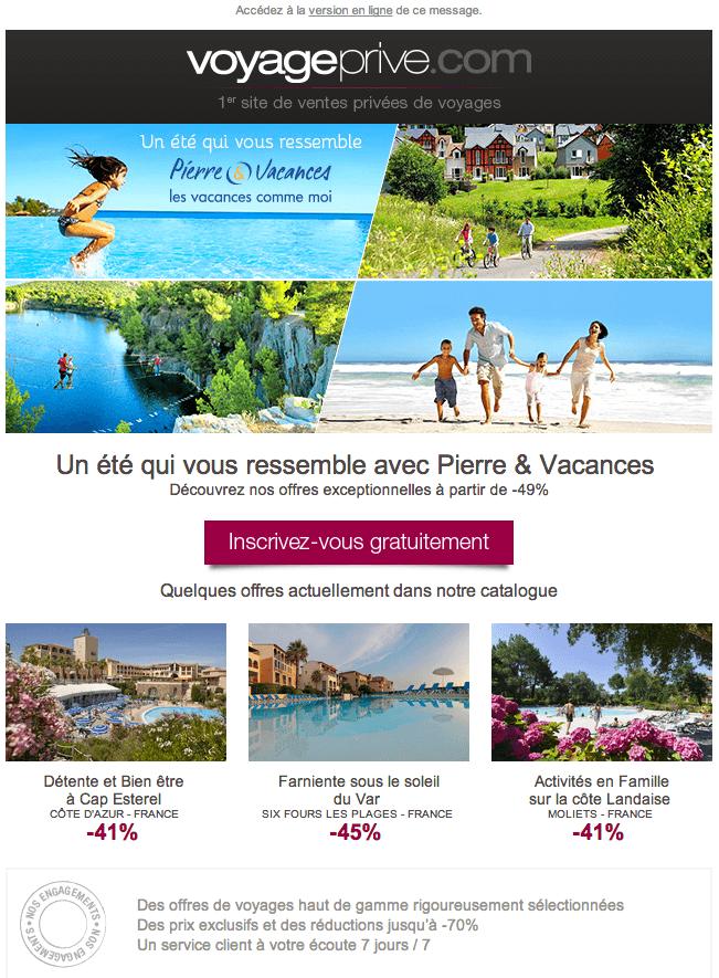 Emailing Newsletter Voyage Privé 2
