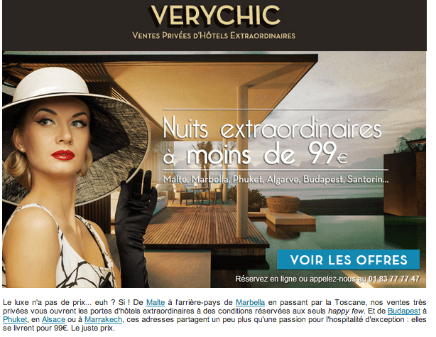 Newsletter VeryChic Voyage Offre 2