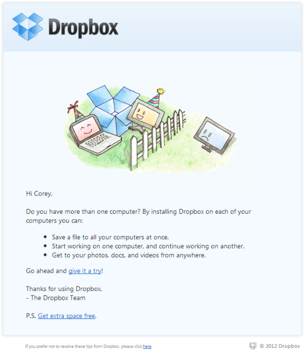 Emailing Personnalisation Newsletter - Dropbox