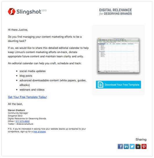 Emailing Personnalisation Newsletter - Slingshot
