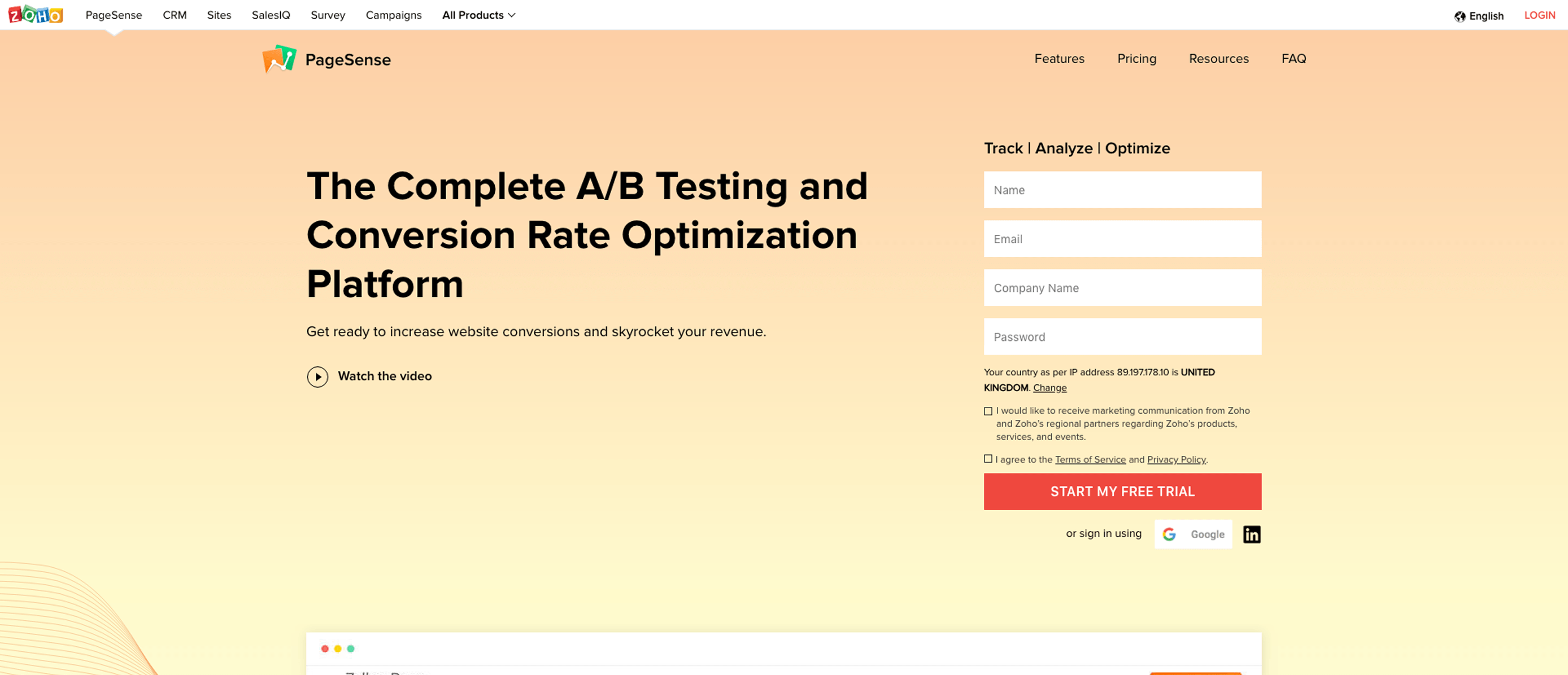 Logiciels de AB Testing - Zoho Pagesense
