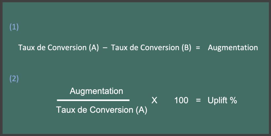 calcul de l'uplift du taux de conversion