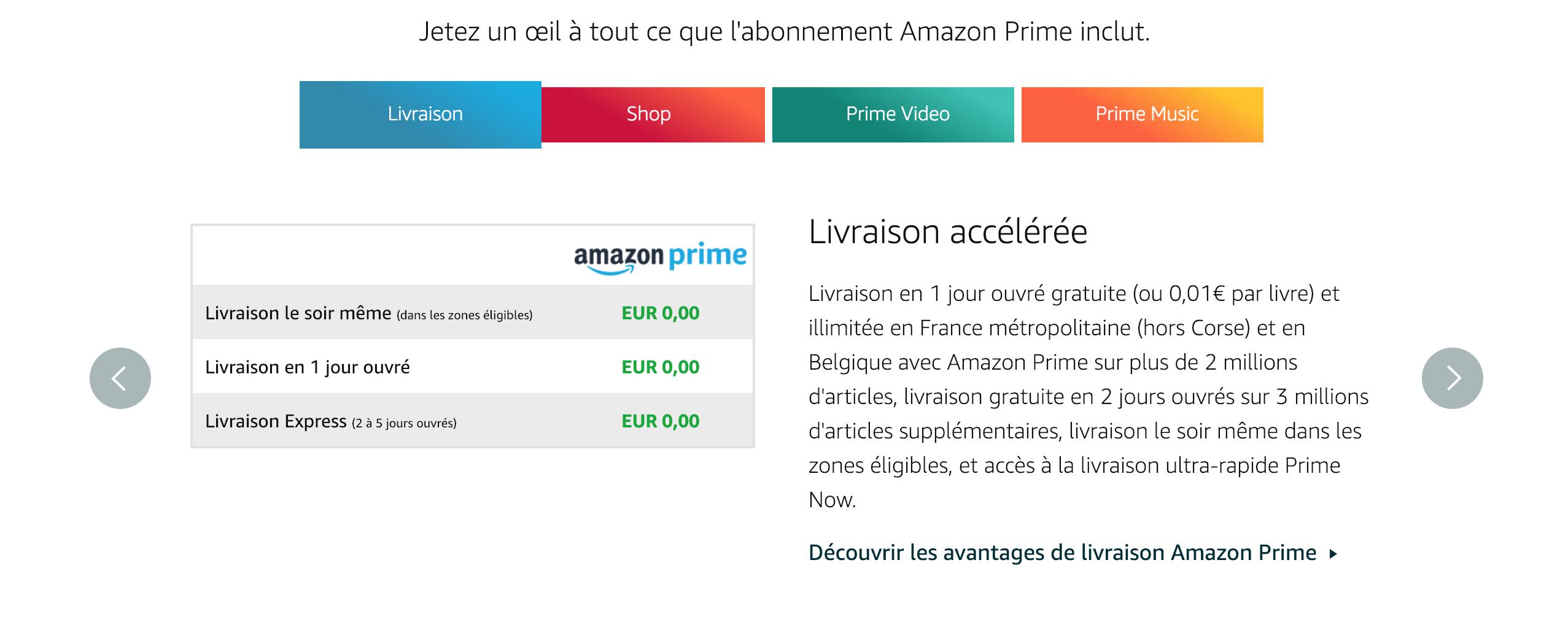 livraison amazon prime pour optimiser les pages de paiement