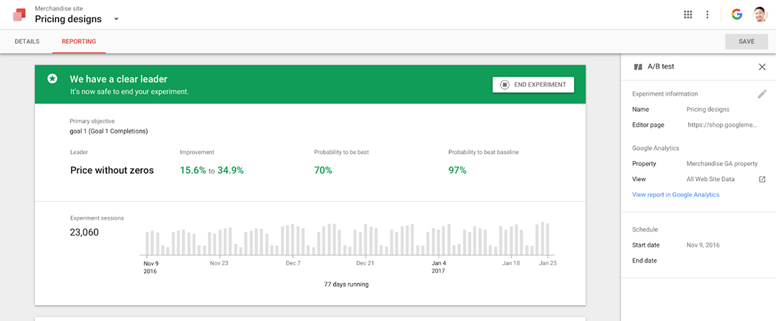 google optimize - outil d'a/b testing
