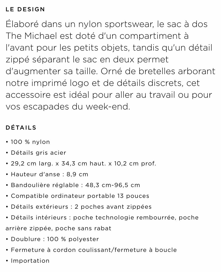 exemple de description de produit par michael kors