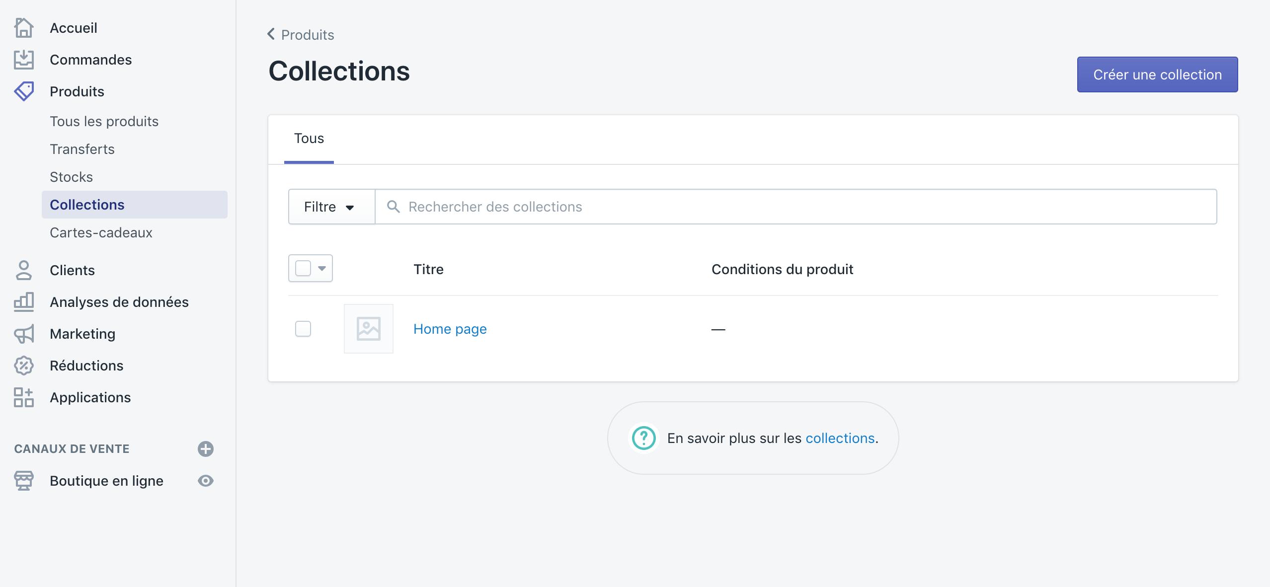 page des collections de Shopify