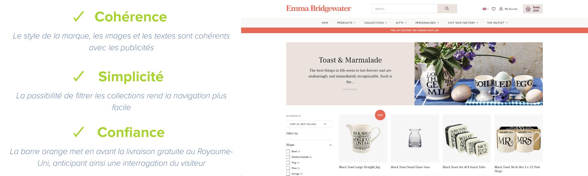 emma bridgewater exemple de page de collection