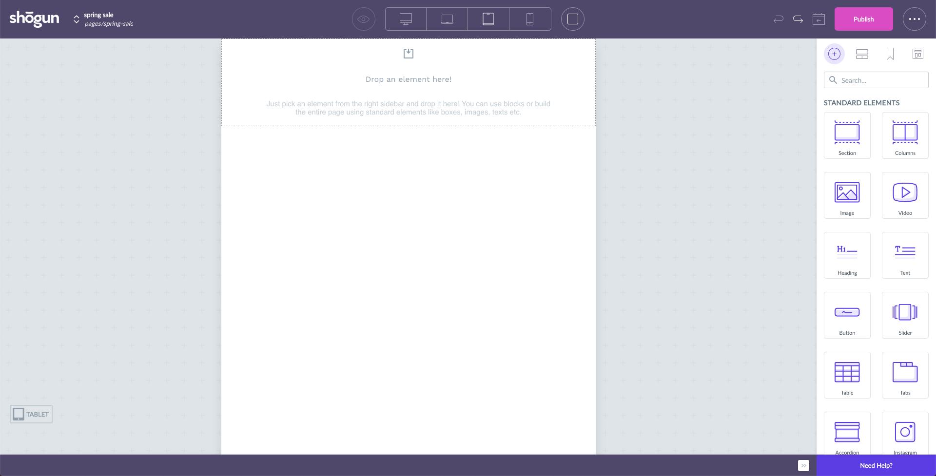 shogun page builder, application de création de page