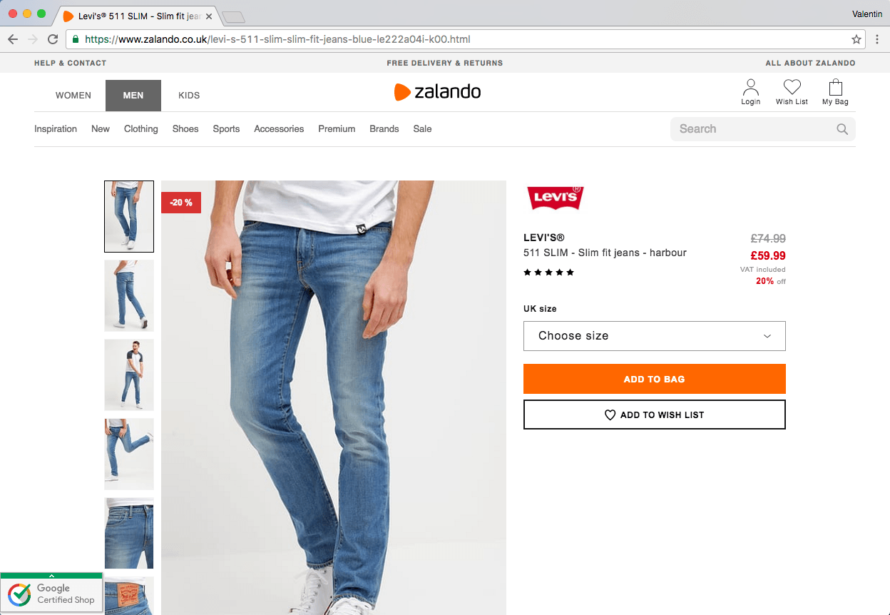 How Zalando could optimise their product page to increase sales