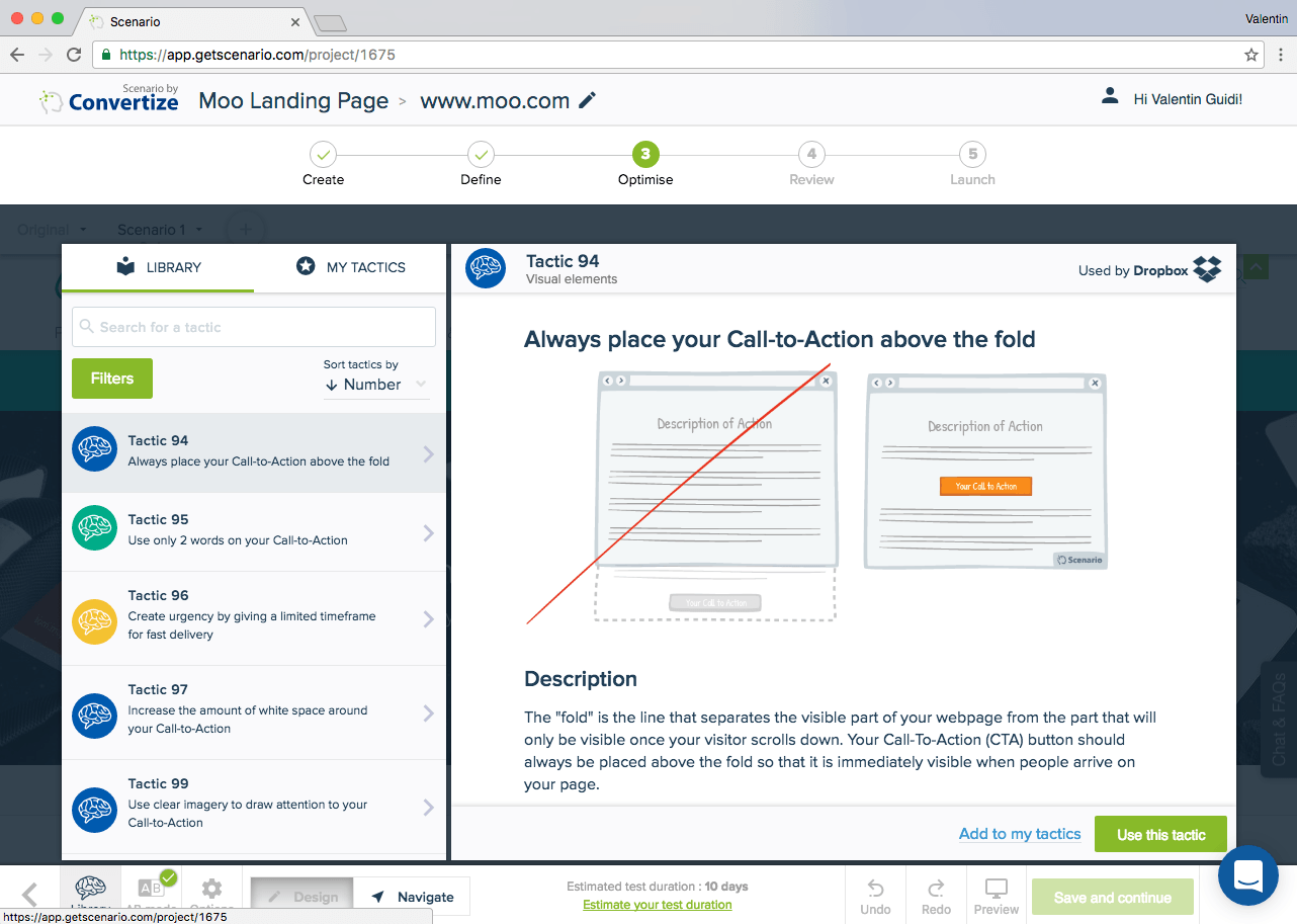 One quick way Moo could improve its Landing page conversion rate