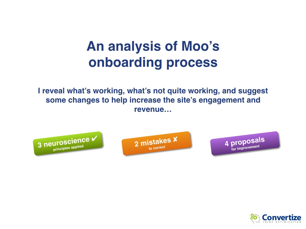 How could Moo optimise its conversions?