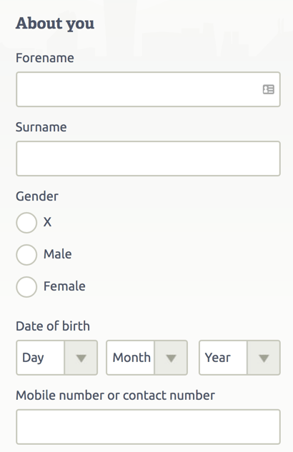 single column web form design