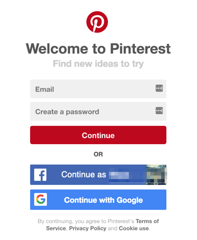 pinterest web form design
