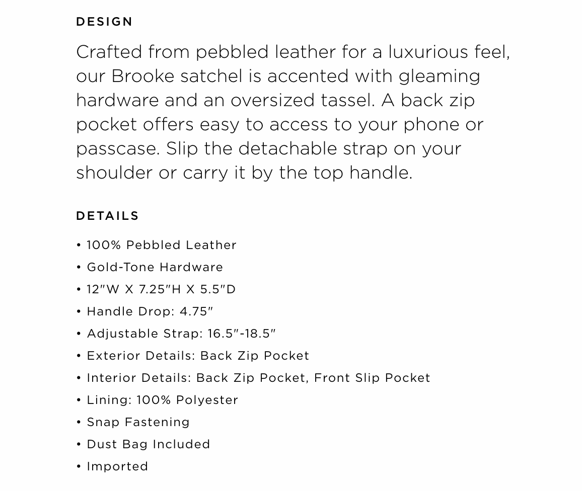 product description example handbag