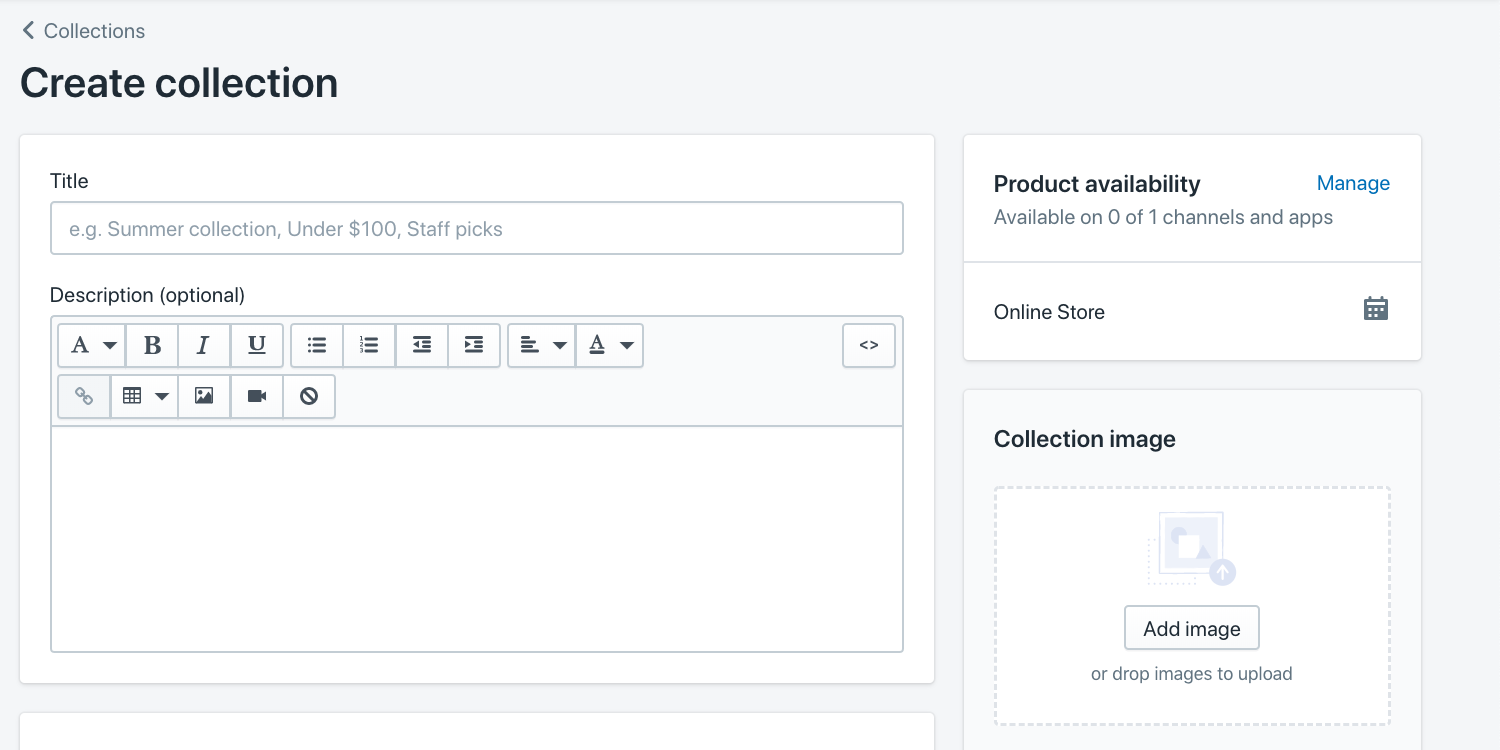 create shopify product collection